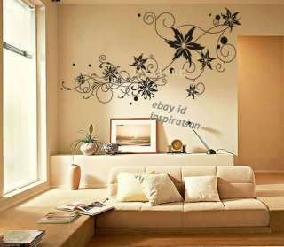 Removable Decorative Wall Paper Sticker Decal Flower 1.6x0.79m