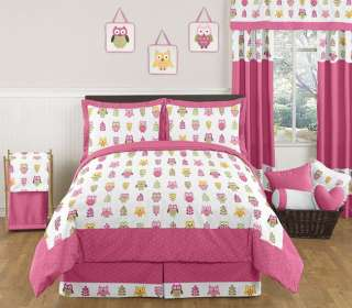 PINK MODERN OWL KIDS FULL QUEEN SIZE BED BEDDING COMFORTER SET FOR