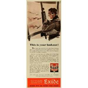 1943 Ad Electric Storage Exide Car Battery World War II