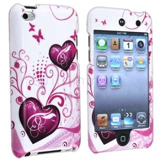 Pink+Purple Hard Heart Skin Case For iPod Touch 4 4th Gen 4G