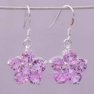 Goodly Pink Crystal Flower Silver Plated Dangle Earring