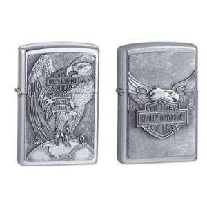 Zippo Lighter Set   Harley Davidson Eagle & Globe and Iron
