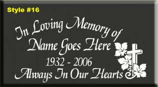 IN LOVING MEMORY OF VINYL DECAL STICKER RIP *31 STYLES*