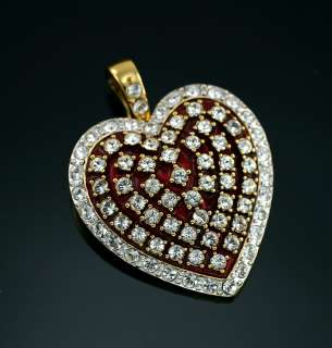Nolan Miller Red Enamel Heart Valentine Crystal Enhancer Glamour