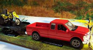 Scale Ford F 250 Pickup w/Trailer & Suzuki Motorcycle
