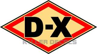 OLD STYLE DX D X GAS PUMP OIL TANK DECAL WITH CREAM BACKGROUND
