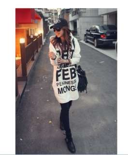 Korea Womens Casual White Letter Long Hoodie Outerwear
