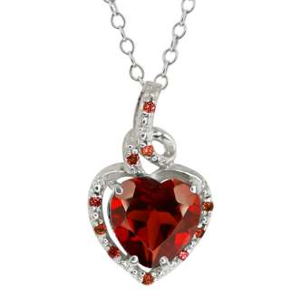 Genuine Heart Shape Red Garnet Gemstone Sterling Silver Pendant