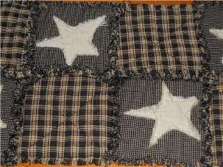 Black Tan Homespun PriMiTivE Rag Quilt Table Runner Tan Stars