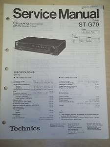 Technics Service/Repair Manual~ST G70 Stereo Tuner