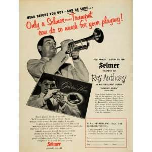 1956 Ad Selmer Trumpets Ray Anthony Golden Horn Record