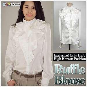 Elegance Lovely Ladies Sheer Tops Womens Ruffles Blouses Dress Shirts