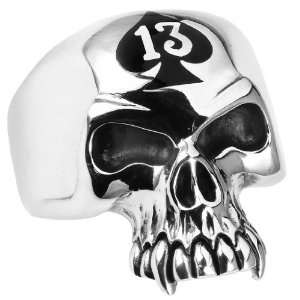 Stainless Steel LUCKY 13 SKULL RING Ring (Available in Sizes 10 to 14