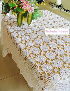 Vintage Hand crochet blooming flowers Large table cloth