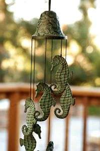 Hanging Brass Verdi Green Seahorse Wind Chime Coastal