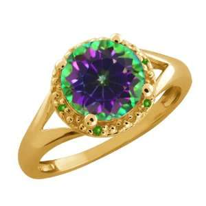 Round Green Mystic Topaz and Peridot Gold Plated Silver Ring Jewelry
