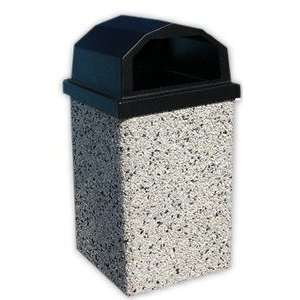 40 Gallon Concrete Open Dome Top Lid Outdoor Trash Can: Home & Kitchen